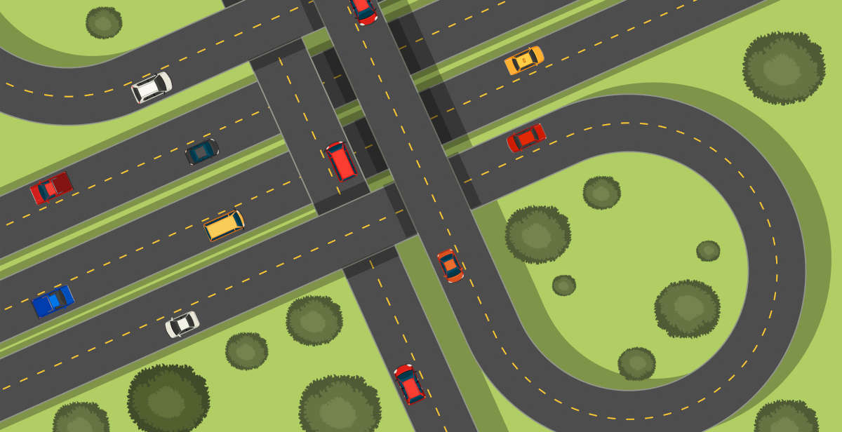 Aerial drawing of a road network with cars on it