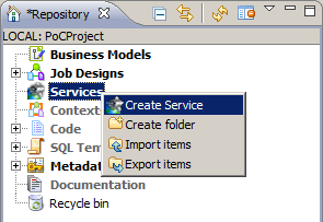 Creating a service in the Repository tree