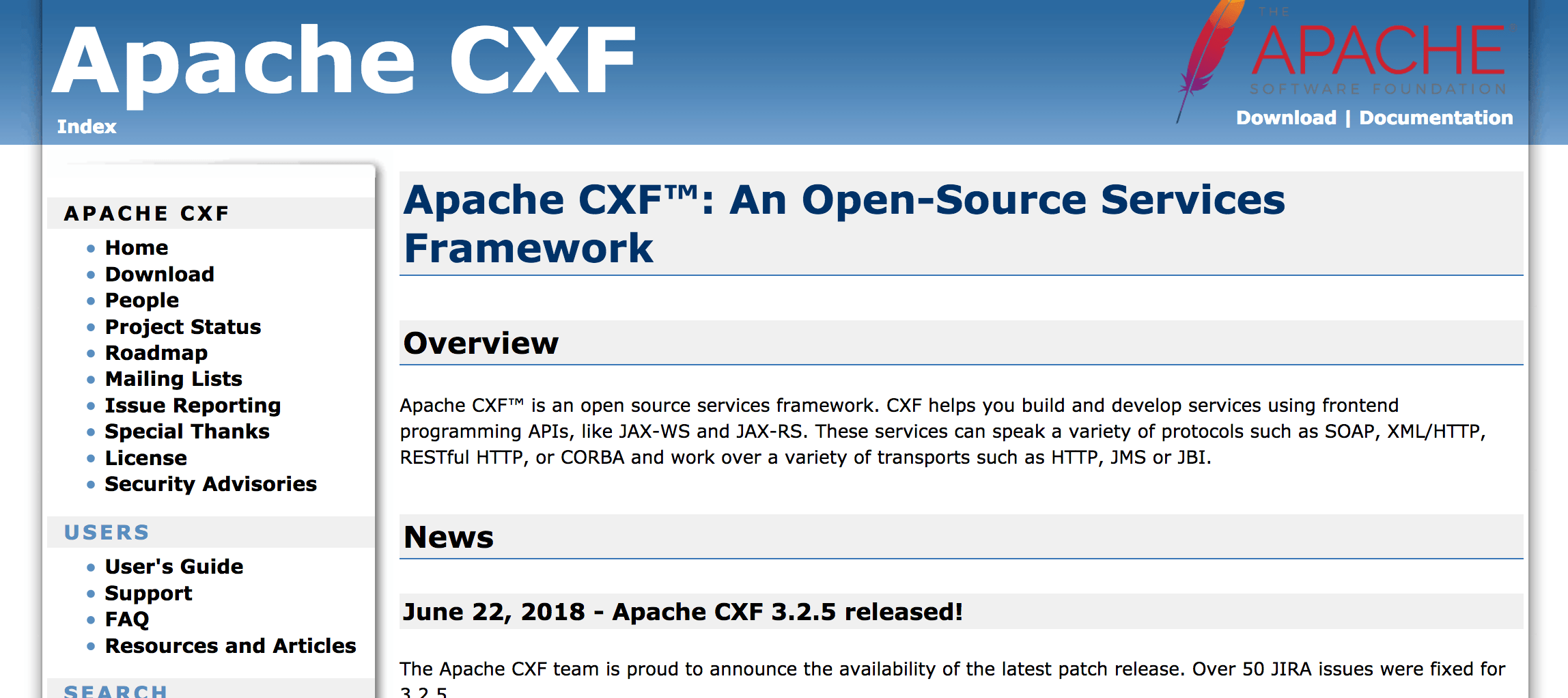 Apache CXF website home page