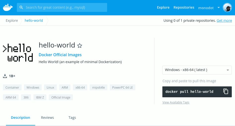 Screenshot of Docker Hub showing hello-world image
