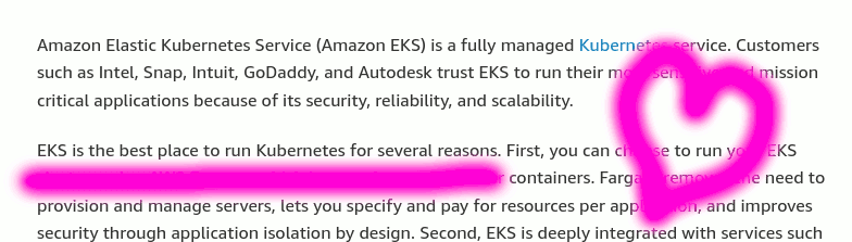 Screenshot of AWS EKS sales copy