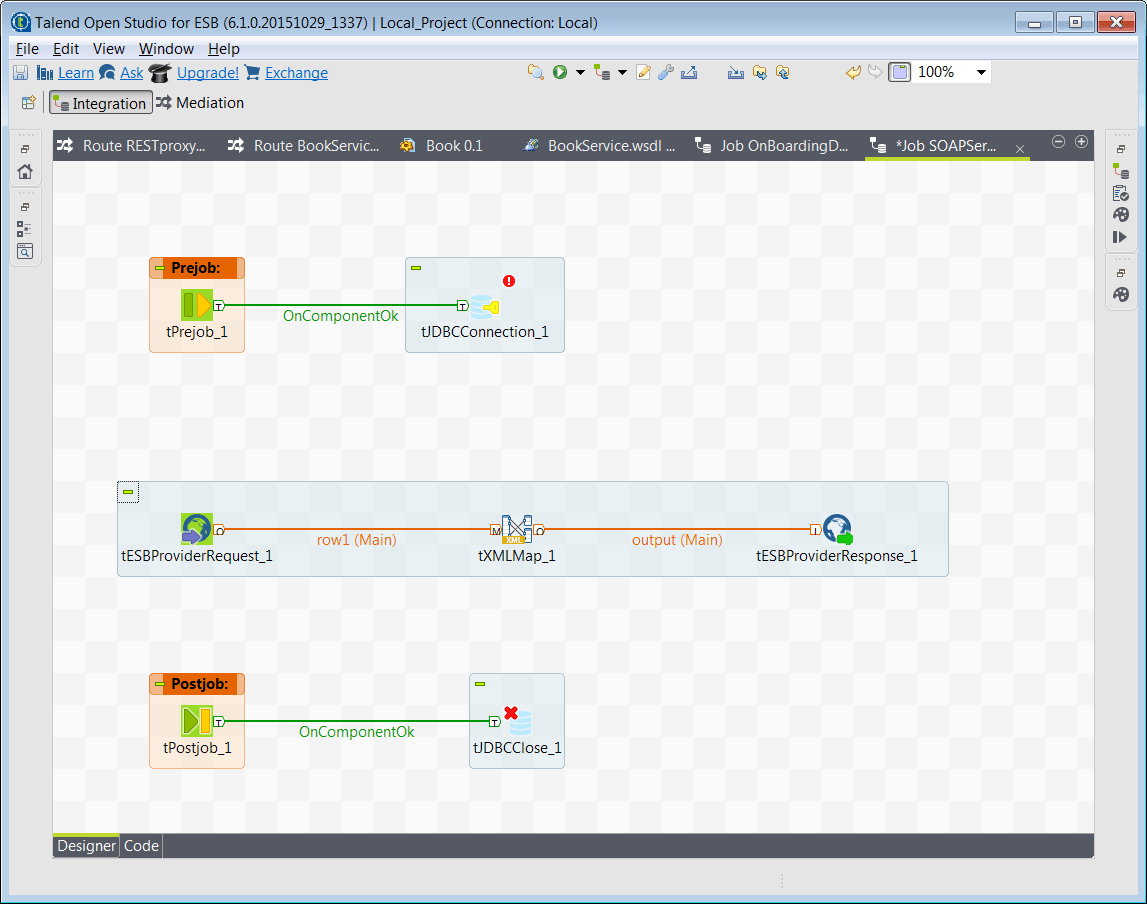 Integration perspective in Talend Open Studio for ESB