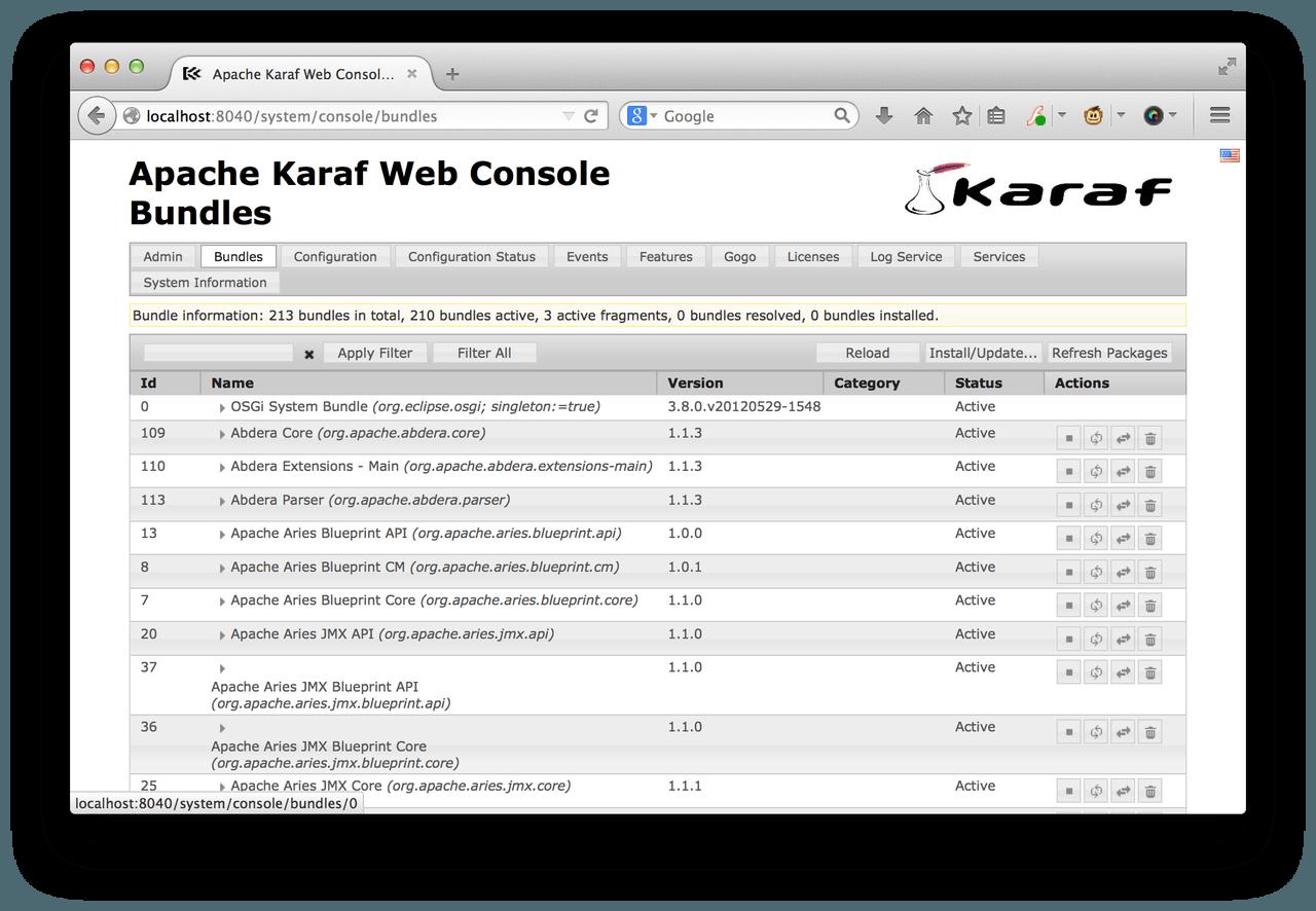 Apache Karaf web console for Talend ESB