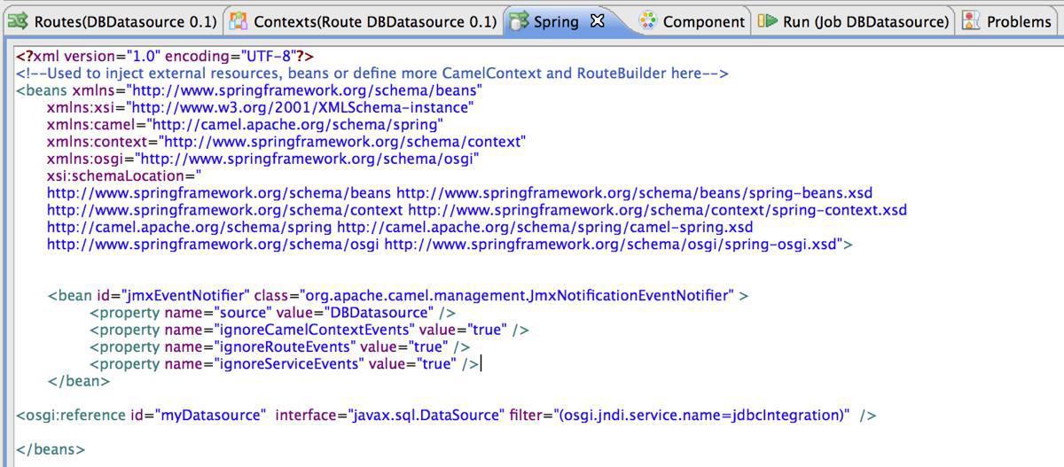 Spring OSGi Talend data source configuration for Talend ESB