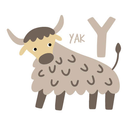 Illustration of a Yak with the letter 'Y'